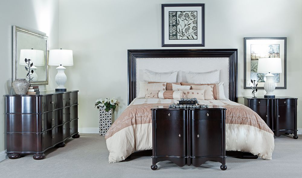 Sleek dark finish with rounded lines, this sophisticated classic ...