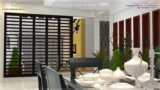 pooja room divider interiors kerala houses interior hall design rh pinterest ie