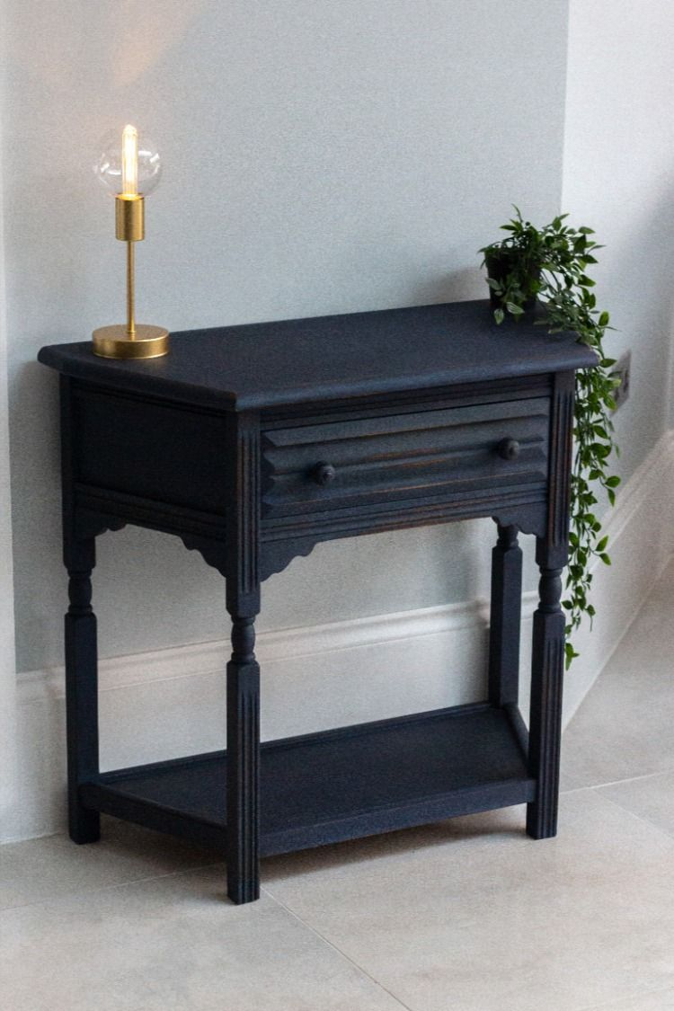 Reclaimed Console Table Finished With Annie Sloan Oxford Navy And