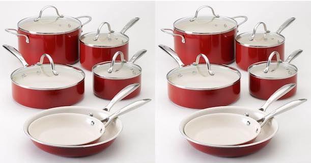 Kohl S Food Network 10 Pc Red Nonstick Ceramic Cookware Set Only 71 99 10 Kohl S Cash In 2020 Ceramic Cookware Set Cookware Set Ceramic Cookware