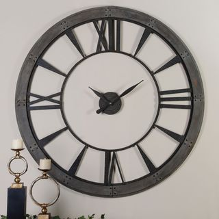 Cooper Classics Declan Aged Copper Brown and Black Wall Clock