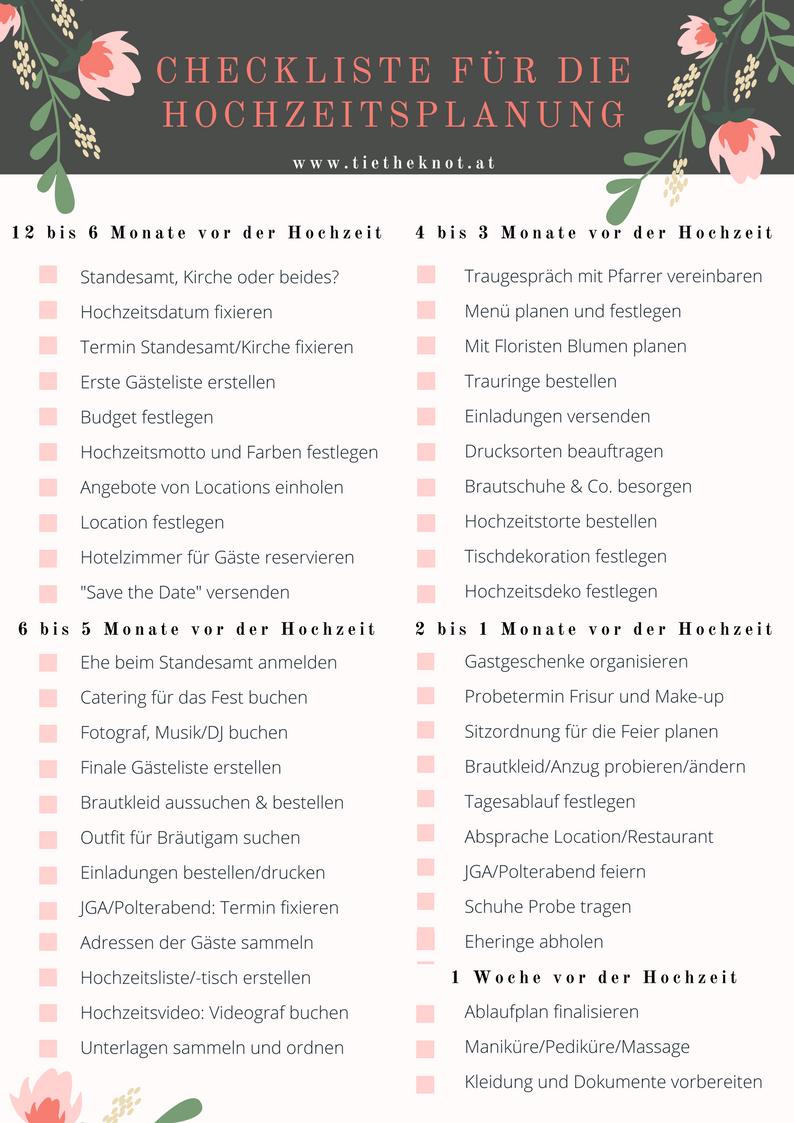 Checkliste für die Hochzeit: Checkliste als Download zum Ausdrucken – Boda fotos