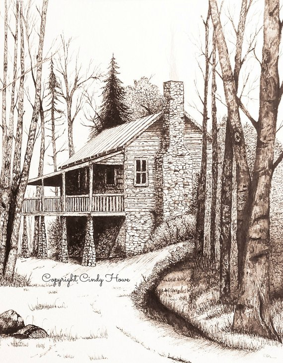 Inside House Drawing: Cabin Art, 3 Greeting Cards, Blank Inside, Cabin, Rustic