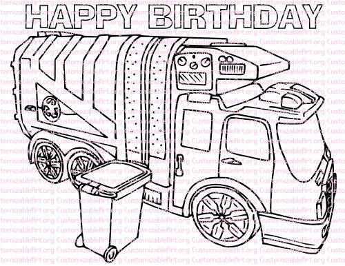 Garbage Truck Birthday Party Printables Garbage Truck Coloring Page