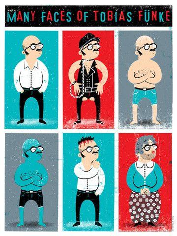 The Many Faces of Tobias Funke by Doe Eyed Design