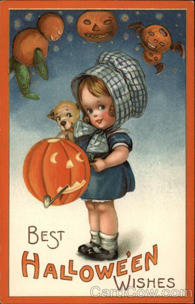 Vintage Halloween Cards Extremely Rare Girl With Bonnet JOL J Freixas