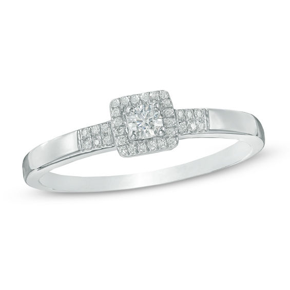 1 10 Ct T W Diamond Square Frame Promise Ring In Sterling Silver Silver Rings With Stones Diamond Promise Rings Promise Rings