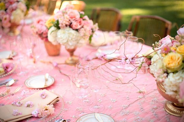 outdoor pink wedding decor