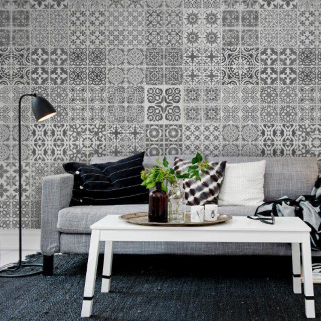 papier peint imitation carreaux ciment rebelwalls. Black Bedroom Furniture Sets. Home Design Ideas