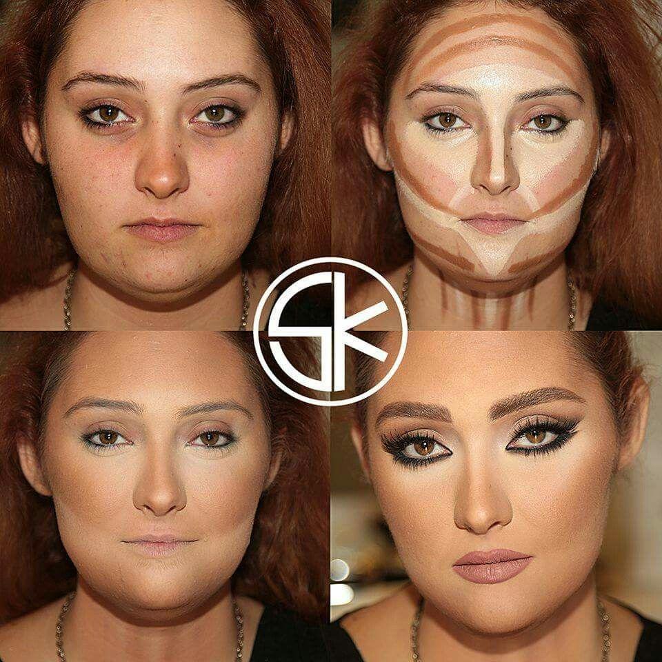 Round face contour  Contour makeup, Makeup, Round face makeup