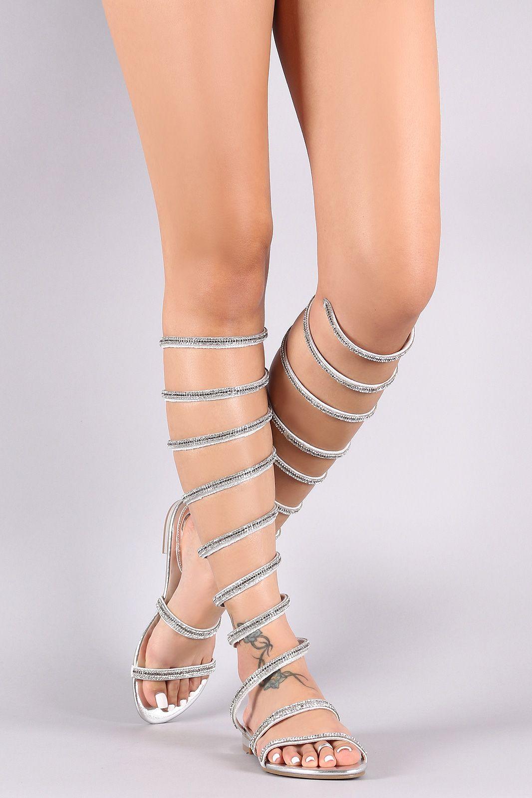 d5f071f410db Patent Rhinestone Knee High Spiral Leg-Wrap Flat Sandal