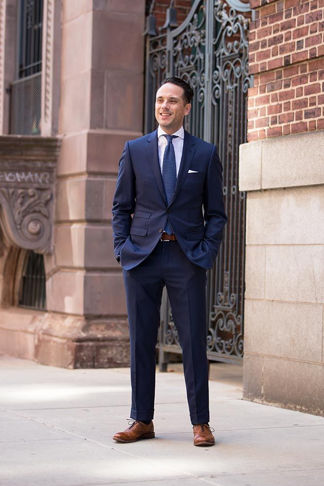 Navy suits / Navy tie / White shirt / Brown shoes | Our Wedding ...