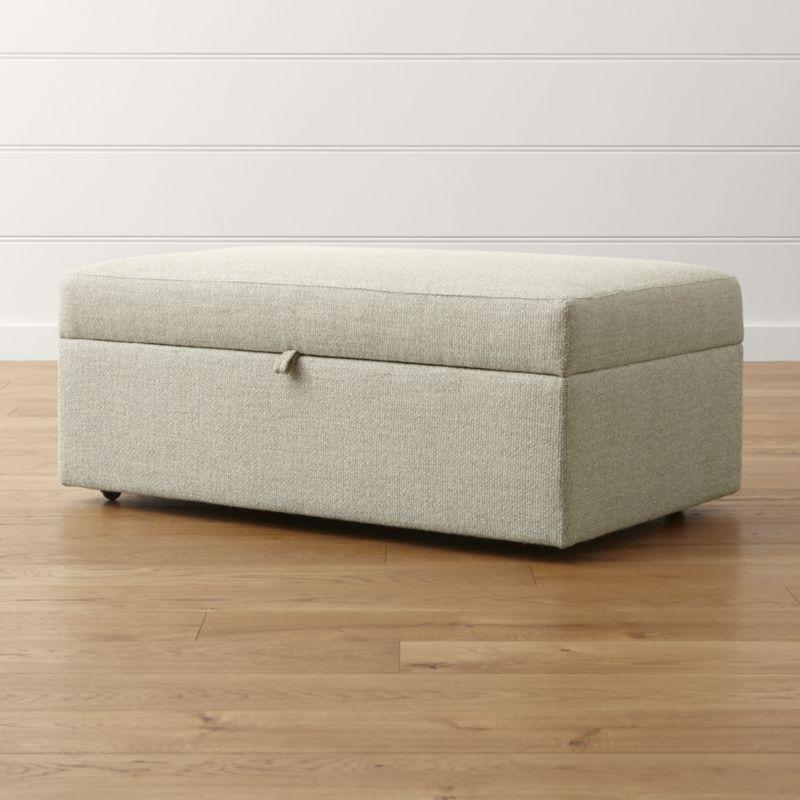 Lounge Ii Storage Ottoman With Tray Storage Ottoman Grey