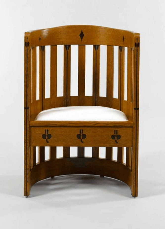 Arts and Crafts barrel chair, attributed to Baillie Scott.