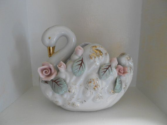 Swan with Roses porcalaine decorative vase by violetrosesvintage, $14.95
