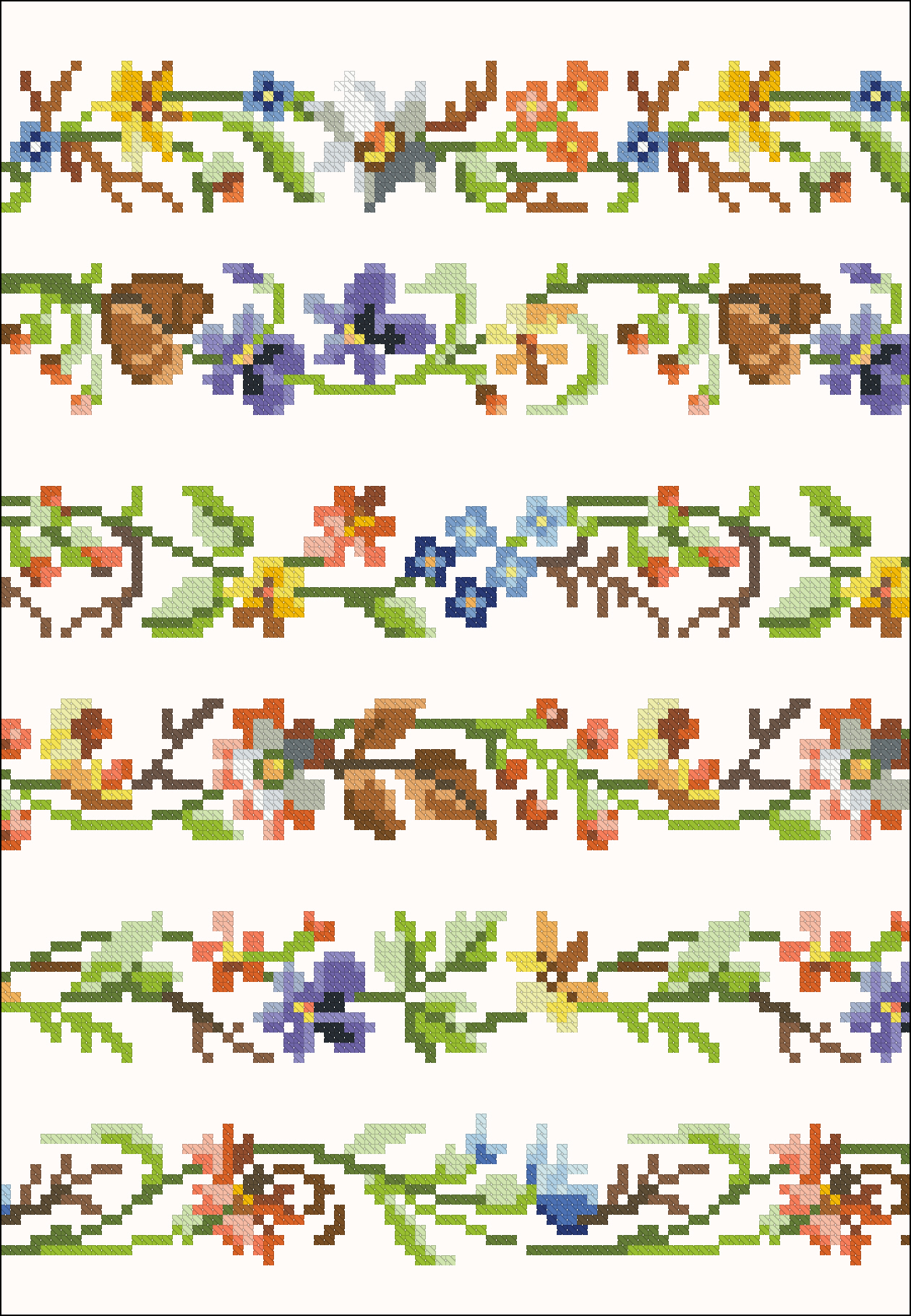 Colourful floral borders | Chart for cross stitch.