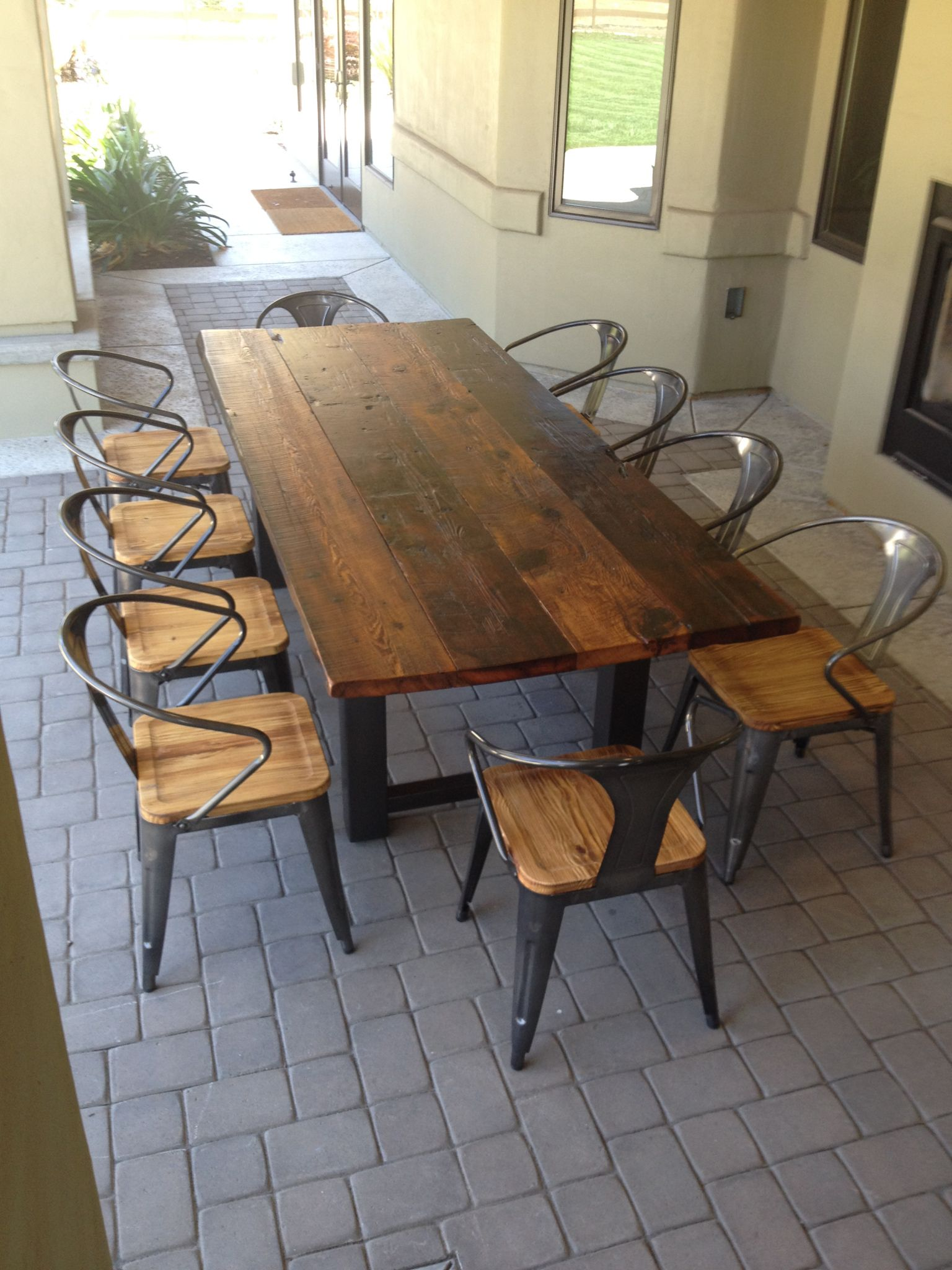 Reclaimed Wood And Steel Outdoor Dining Table 1 Chairs