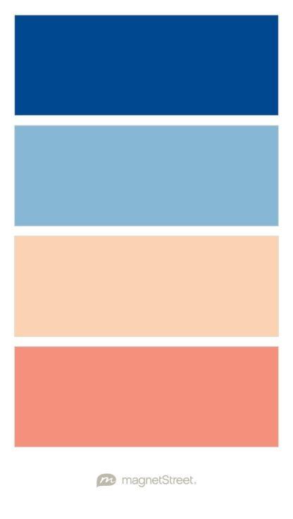 Clic Blue Dusk Peach And C Wedding Color Palette Custom