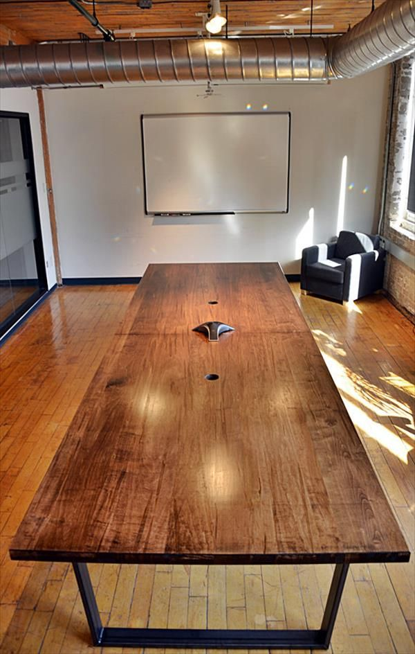 This DIY Pallet Conference Table With Flat Metal Box Legs Really Deserves  To Be Under Your Office Roof And Your Entire Staff Can Sit Around It To  Discuss ...