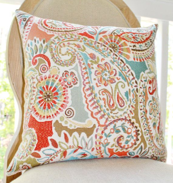 Moroccan Turquoise Orange Coral Pillow - Red Aqua Turquoise Paisley Floral Designer Pillow ...