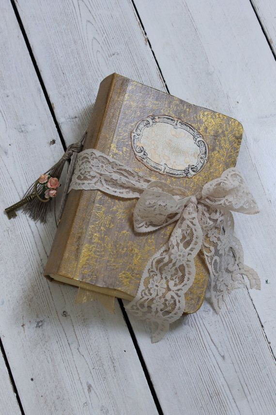 Wedding Guest Book Vintage Style Photo Al In Gold Ivory Hand Bound Sbook Made To Order Inches