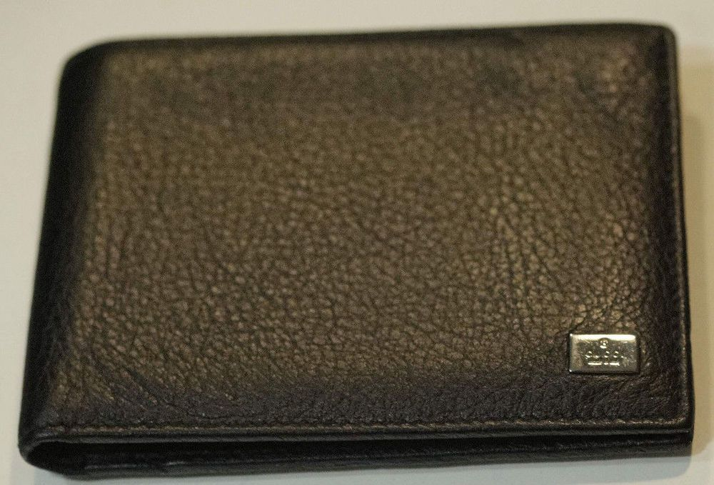494a8fa16d8 100% Genuine Nice GUCCI Men s Leather Chrome Logo Bi-fold Black leather  Wallet  fashion  clothing  shoes  accessories  mensaccessories  wallets  ad  (ebay ...