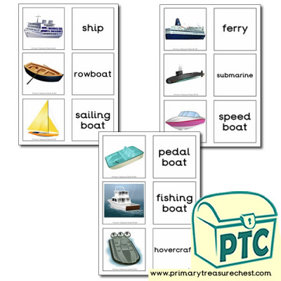 Sea Transport Themed Matching Cards Primary Treasure