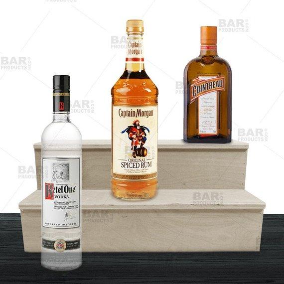 Wood Liquor Shelves - 2 Tier - Natural - Multiple Sizes