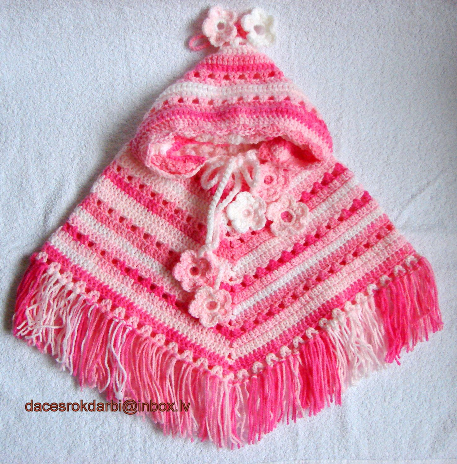 Baby Hooded Poncho Crochet Pattern Baby Girl Crocheted Hooded ...