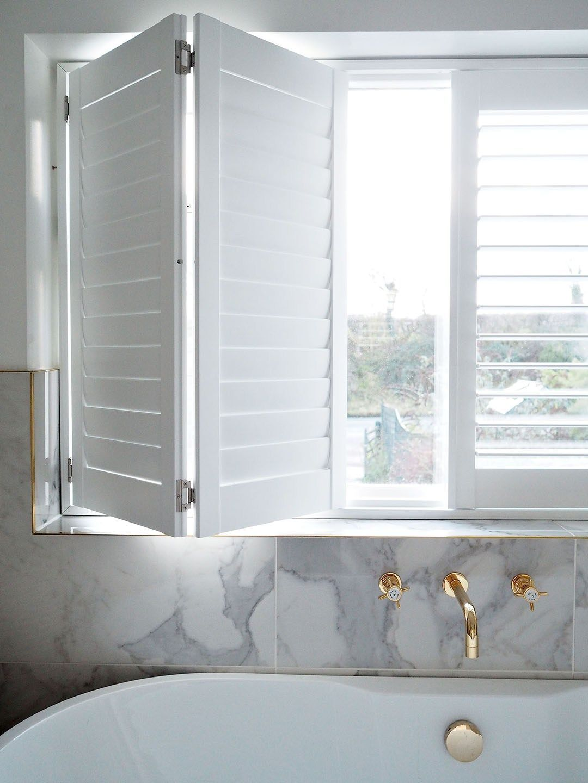 White DIY Window Shutters Bathroom  Window shutters diy, Bathroom