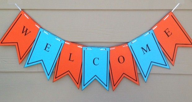 Printable Welcome Banner Template First Day Of School Flag Banner