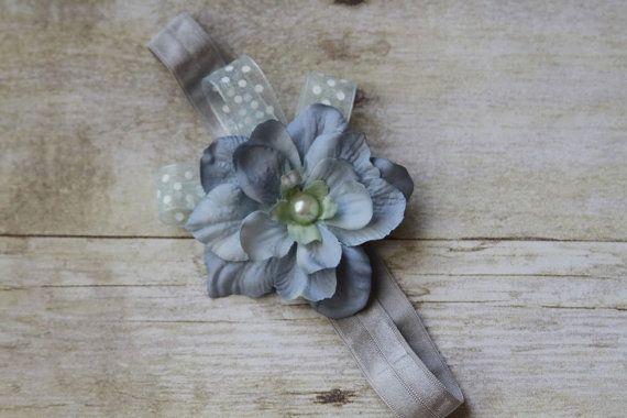 Light Blue Flower Headband Newborn Headband by Pinkpaisleybowtique, $8.95