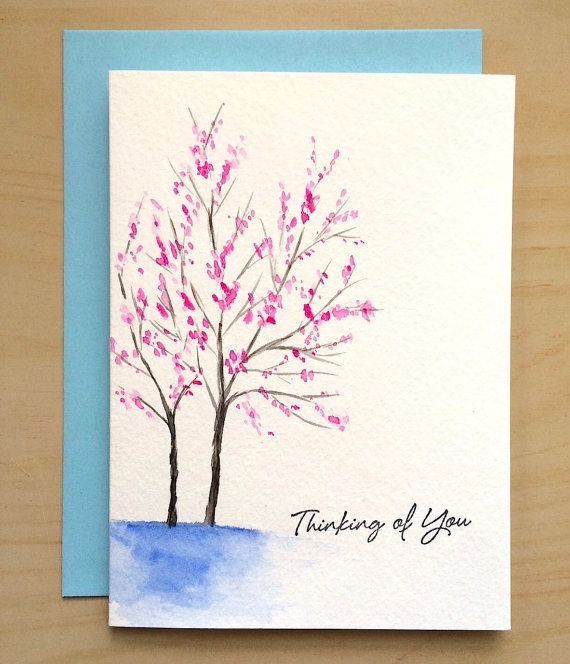 Hand Painted Card Thinking Of You Card Watercolor Cards