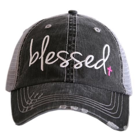 Blessed Distressed Glitter Ladies Trucker Hat Inspire Inspirational