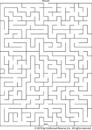 A simple line maze to help children draw a path for Jonah