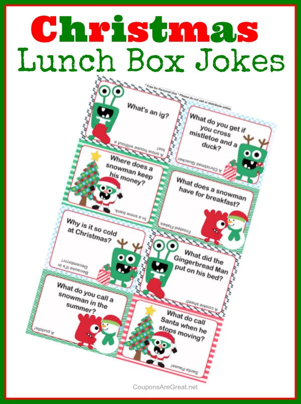 Christmas Lunch Box Notes using Christmas Jokes for Kids   FREE ...