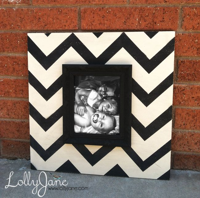 Chevron Wood Picture Frame DIY | Chevron picture frames, Craft and Woods