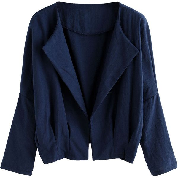 SheIn(sheinside) Navy Batwing Sleeve Coat (14.745 CLP) ❤ liked on Polyvore featuring outerwear, coats, short coat, short sleeve coat, navy coat, long sleeve coat and blue coat
