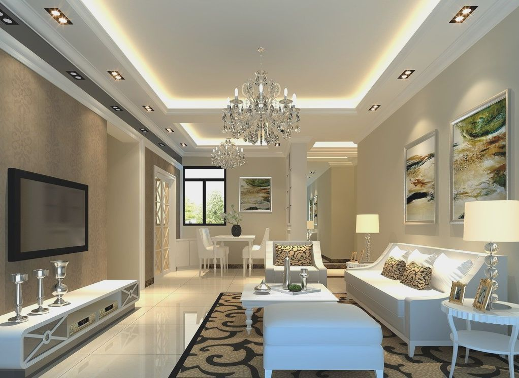 Living Room Ceiling Design Endearing Light Gray Elegant Living Room Rendering  Home Interior 2018