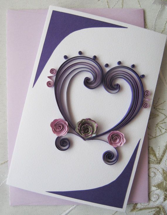 Valentine Card Quilled Handmade Greeting Card Birthday I – Handmade Greeting Cards for Valentine Day