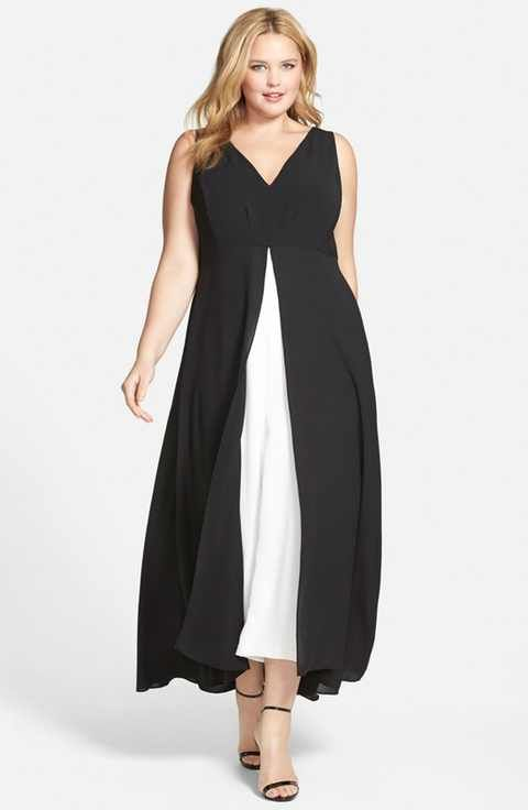 Adrianna Papell Colorblock V-Neck Jumpsuit (Plus Size ...
