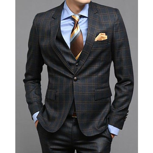 Details about Men s NAVY BLUE checked Slim Fitted 1-BT SUITS ...