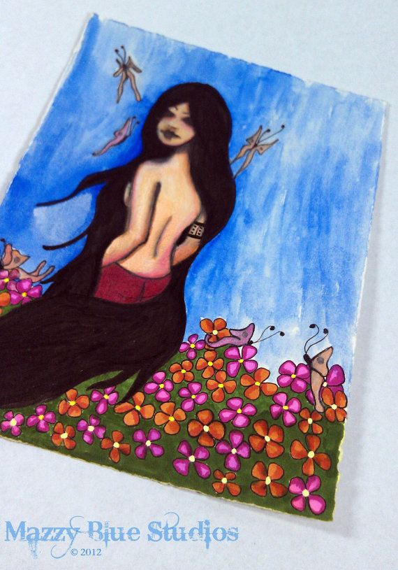 Girl Butterflies Meadow Flowers Haunting Goth by MazzyBlueStudios, $45.00