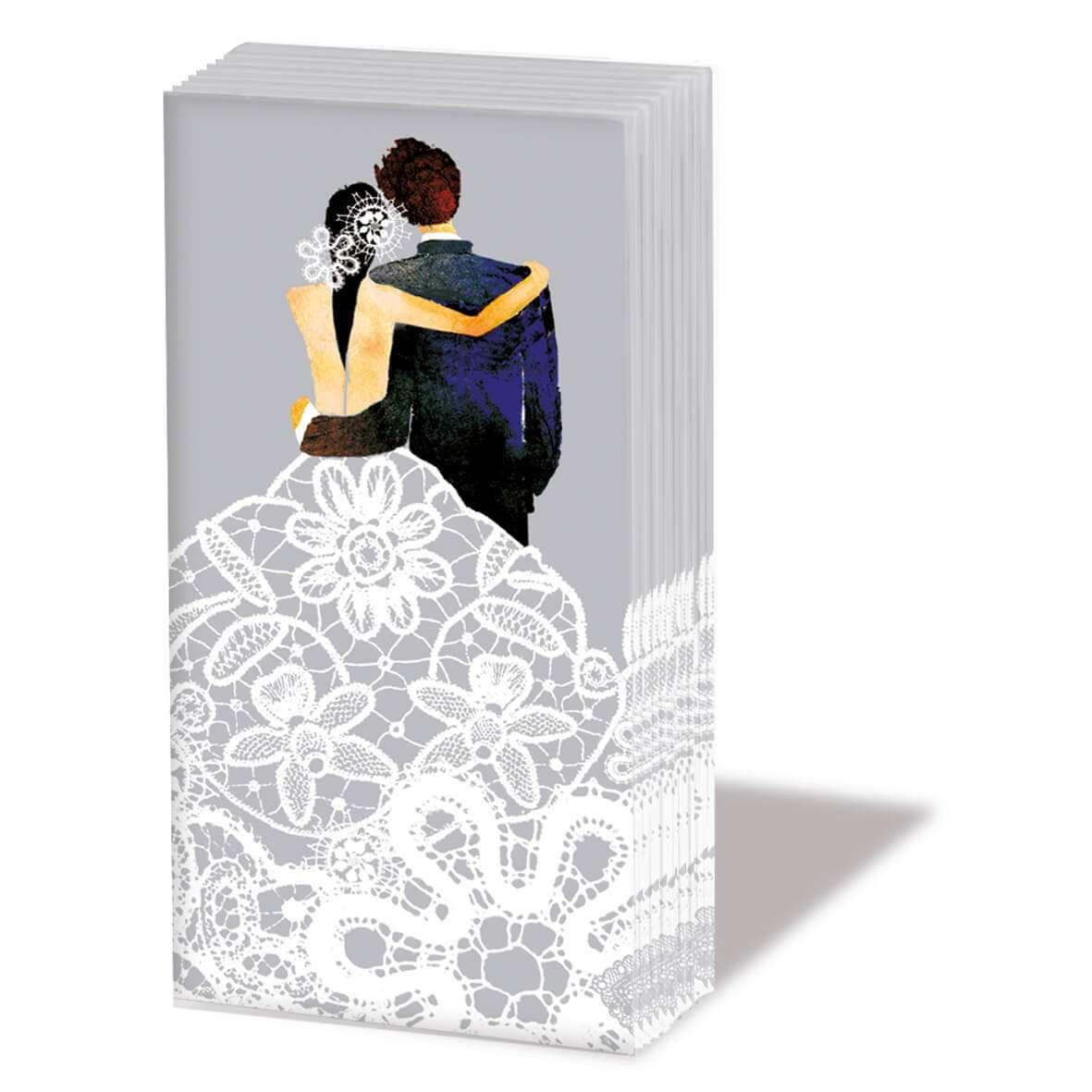 Packchen Mit 10 Bedruckten Designtaschentuchern Im Format 21 5 X 22cm Bzw 5 5 X 11cm Gefaltet 4 Lagig Material 100 Tiss Taschentucher Tuch Hochzeitspaar