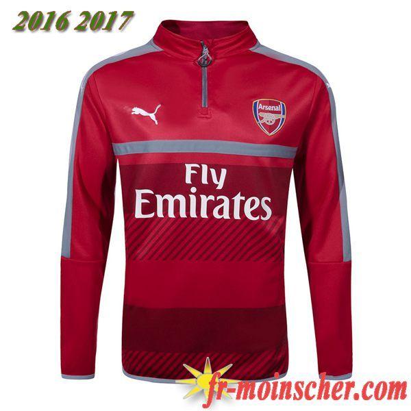 7474316adfe8 Le Nouveau:Sweatshirt Training de Arsenal Rouge Gris Blanc 2016 2017  fr-moinscher