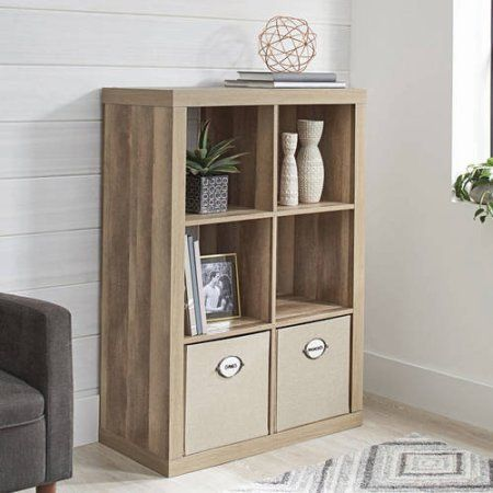 Better Homes And Gardens Bookshelf Square Storage Cabinet 6 Cube Organizer Weathered With Set Of