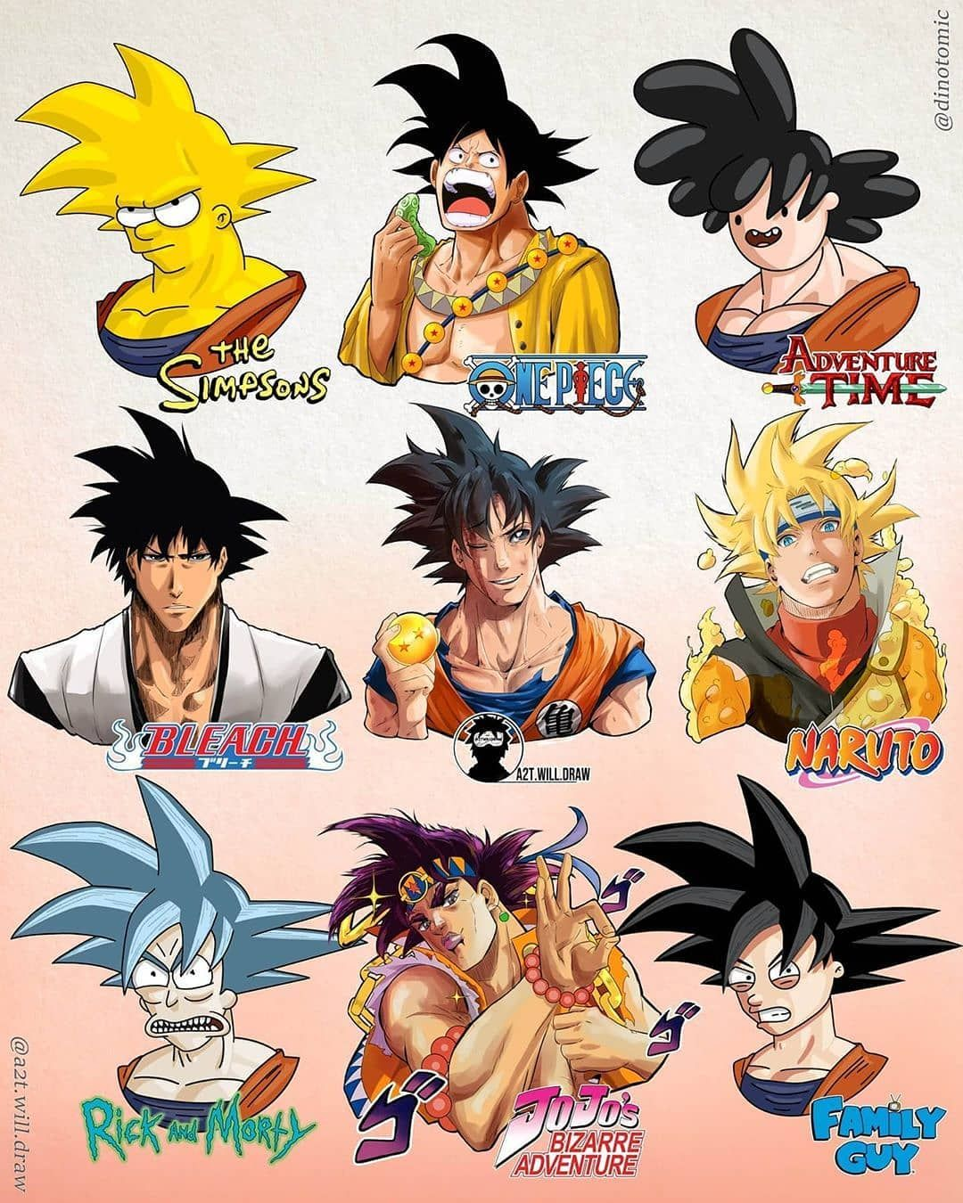 Dragon Ball Legends On Instagram Goku Drawn On Different Anime Styles Which One Looks Better For You In 2020 Anime Dragon Ball Super Anime Style Anime