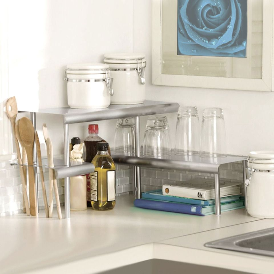 Marimac Deluxe Two Tier Kitchen Counter Corner Shelves In Satin Silver Beyond The Rack
