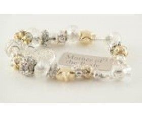 Silver & Gold Bead Charm Bracelet – For Mother of the Bride, Wedding Gift