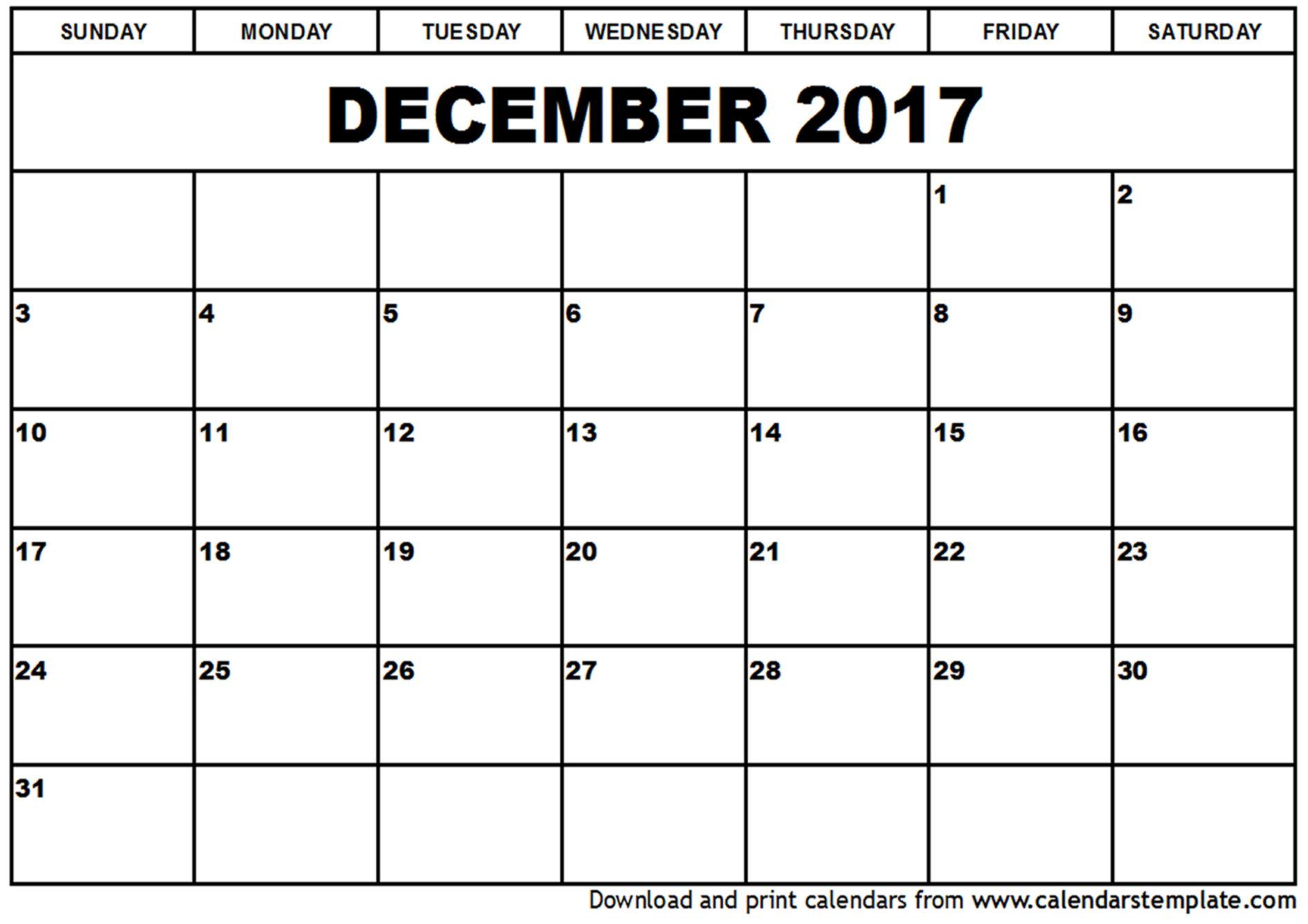 december calendar 2017 | December 2017 Calendar | weekly calendar ...